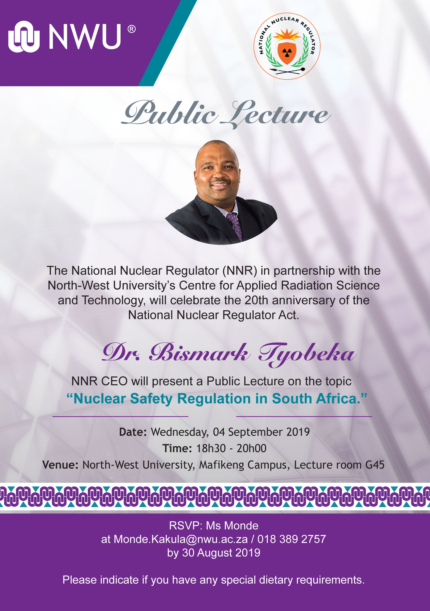 NNNR CEO Public Lecture NWU poster