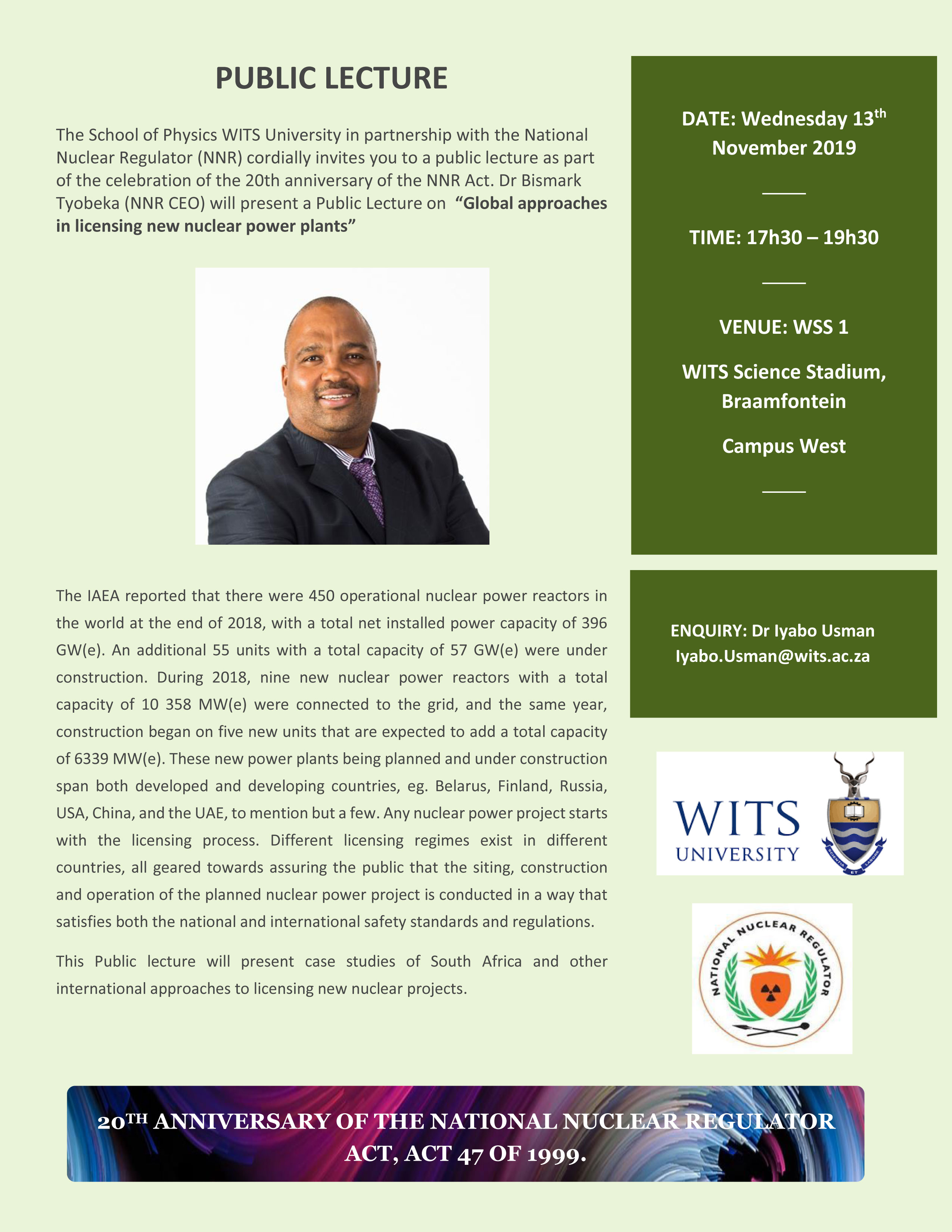 NNR CEO Wits Lecture